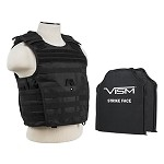 VISM Tactical Body Armor Molle Expert Plate Carrier Vest With IIIA Ballistic Panels - Black