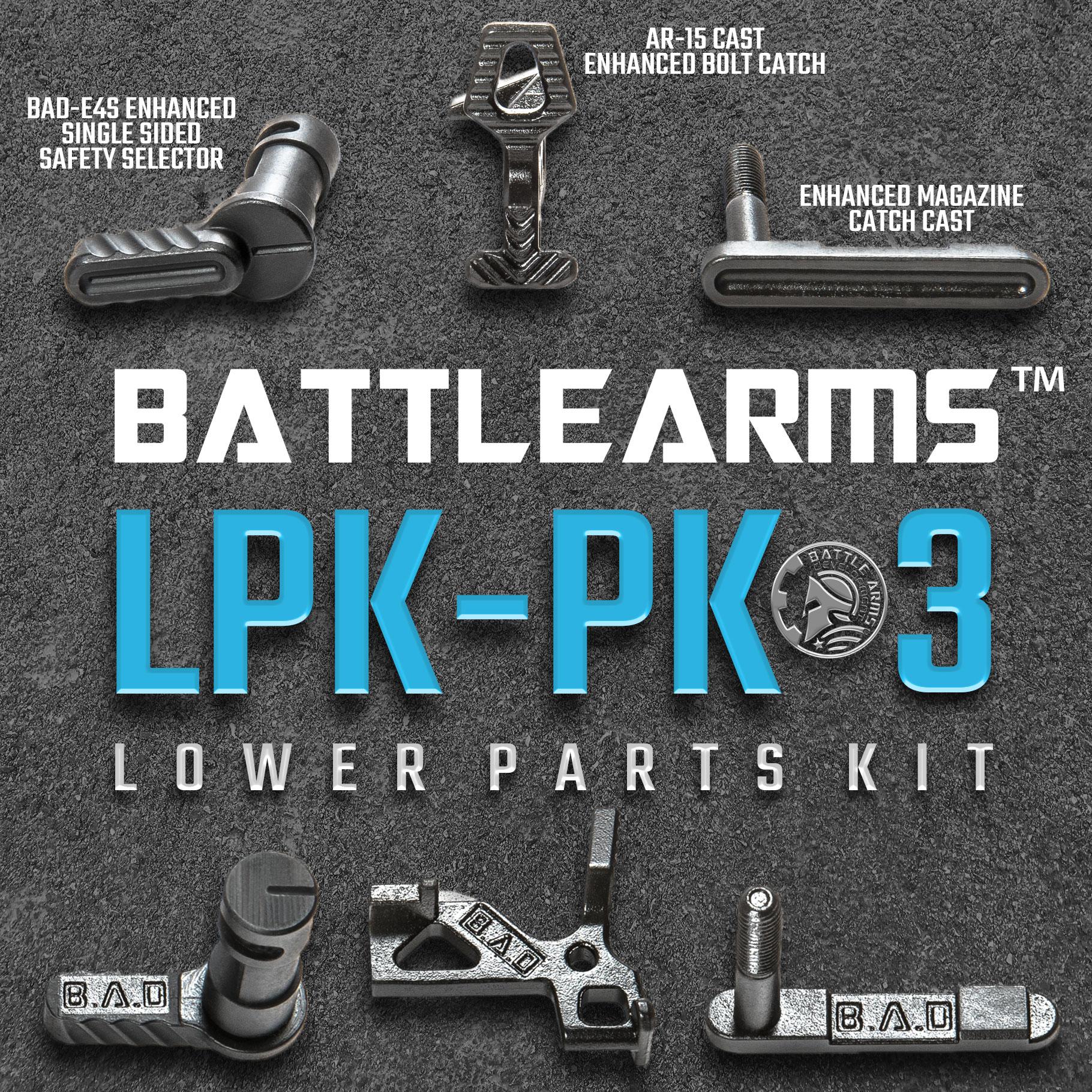 Battle Arms Development 3 Piece Enhanced Lower Parts Kit Package