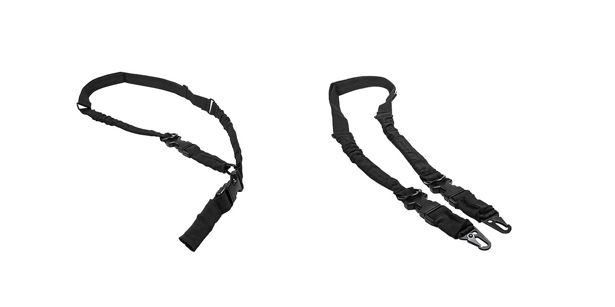 VISM 2 Point or 1 Point Sling w/Metal Spring Clips - Black