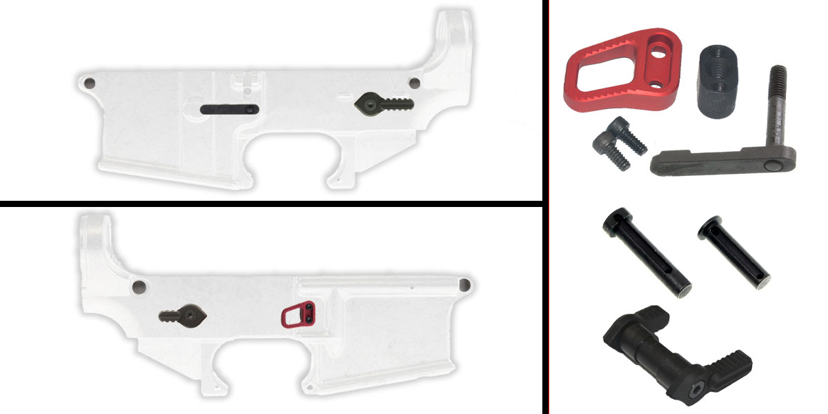 Delta Deals AR-15 Lower Enhancement Kit Featuring Armaspec Extended Magazine Release - Red, Tactical Superiority Take Down/Pivot Pins - Black, Armaspec Ambidextrous Safety Selector - Grey