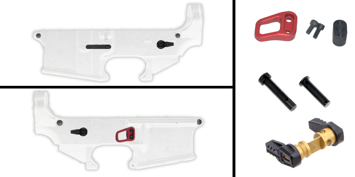 Delta Deals AR-15 Lower Enhancement Kit Featuring Armaspec Magazine Release - Red, Tactical Superiority Take Down and Pivot Pins - Black, Fortis Ambidextrous Safety Selector - Black