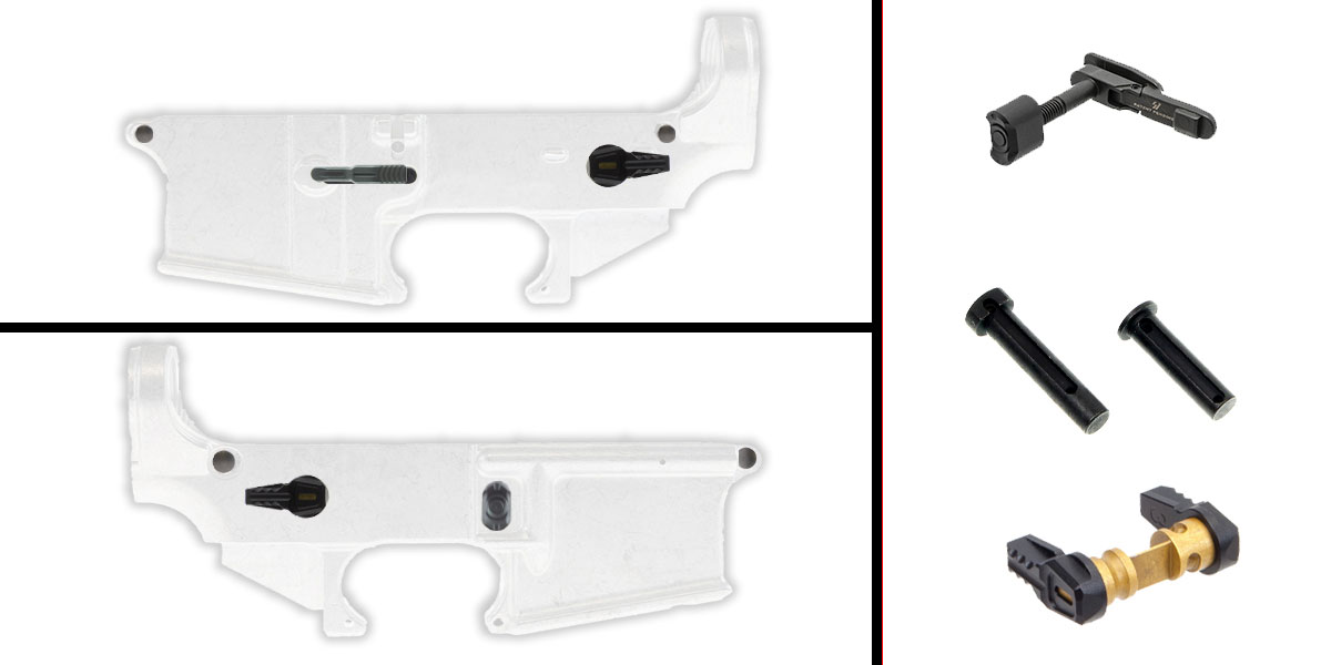 Delta Deals AR-15 Lower Enhancement Kit Featuring Strike Industries Magazine Release - Black, Tactical Superiority Take Down and Pivot Pins - Black, Fortis Ambidextrous Safety Selector - Black