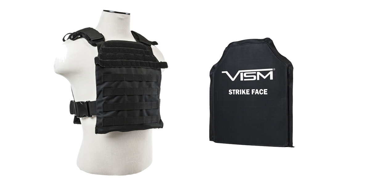 Vism Heavy Duty Plate Carrier Vest W/ Molle Straps With Ballistic Level IIIA Soft Armor Plate.  Stops .44 Mag & More
