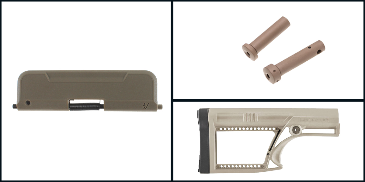 Delta Deals LUTH-AR MBA-2 Skullaton Rifle Buttstock - FDE + Armaspec Superlight Takedown/Pivot Pins - FDE + Strike Industries AR Enhanced Ultimate Dust Cover 223 Standard - FDE