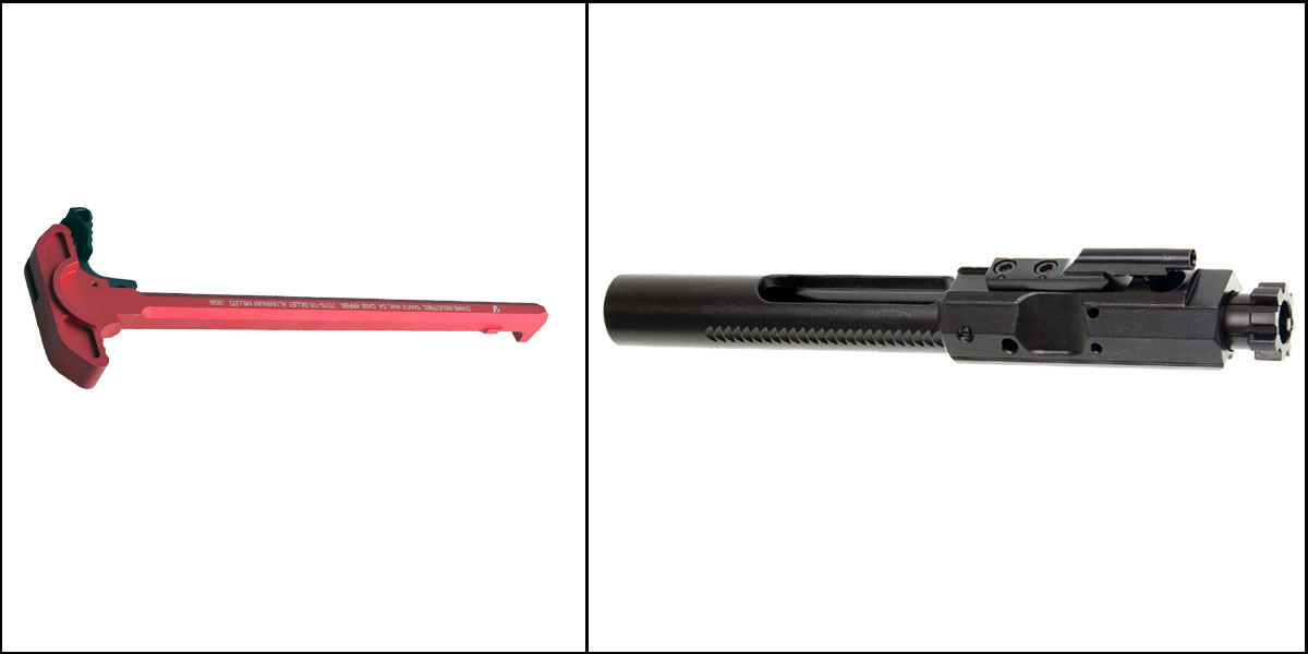 Delta Deals Strike .308 Charging Handle Red + Recoil Technologies .308/7.62 BCG FWD Assist Notches
