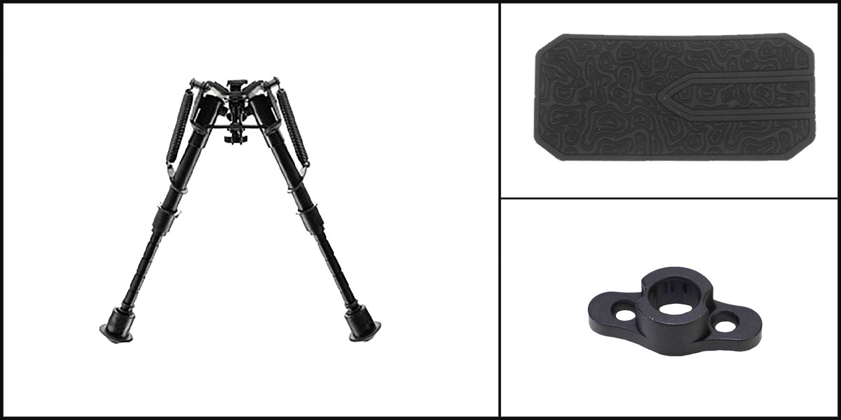 Delta Deals AYB Kits Featuring: NCStar Precision Grade Compact Bipod + Timber Creek Outdoors M-LOK QD Mounting Point + Black Shockwave Adhesive Cheek Pad