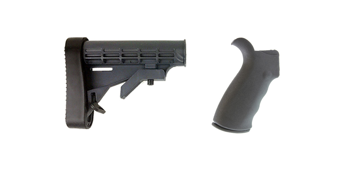 Delta Deals Omega Mfg. AR-15 Rear Beavertail grip, Rubberized Coating + Lakota Ops 6-Position Adjustable Polymer LE Butt Stock