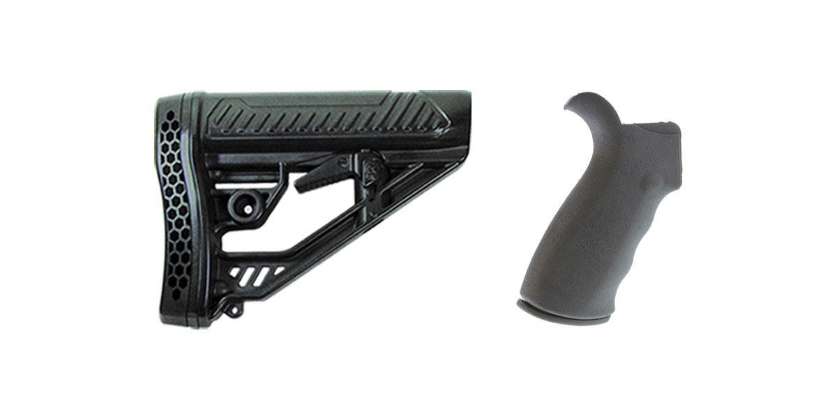Delta Deals Omega Mfg. AR-15 Rear Beavertail grip, Rubberized Coating + Adaptive Tactical AR-15 EX Performance Adjustable Stock
