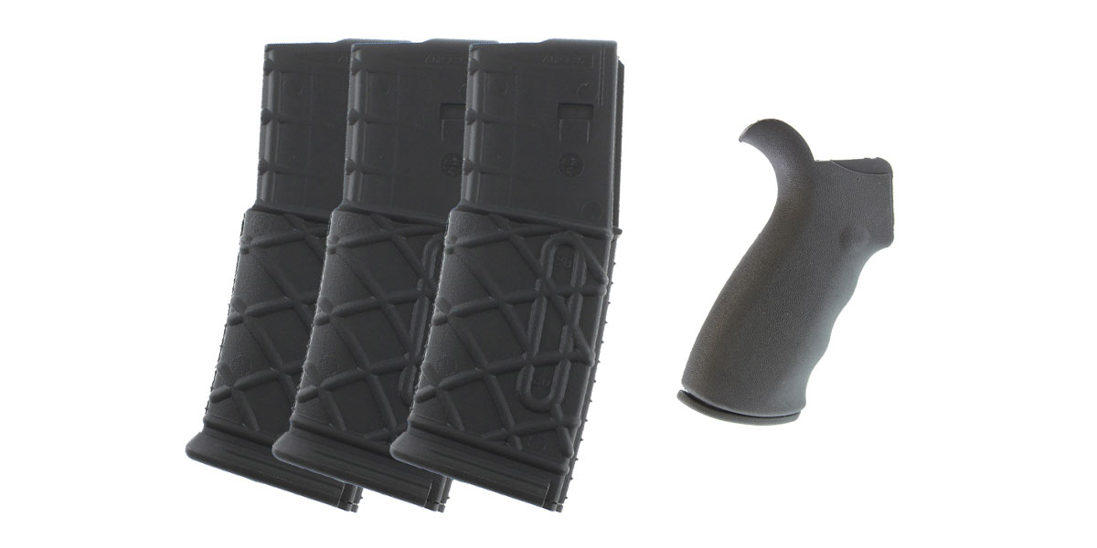 Delta Deals Omega Mfg. AR-15 Rear Beavertail grip, Rubberized Coating + MMC Armory AR-15 10 Round 5.56 Magazine - 3 Pack