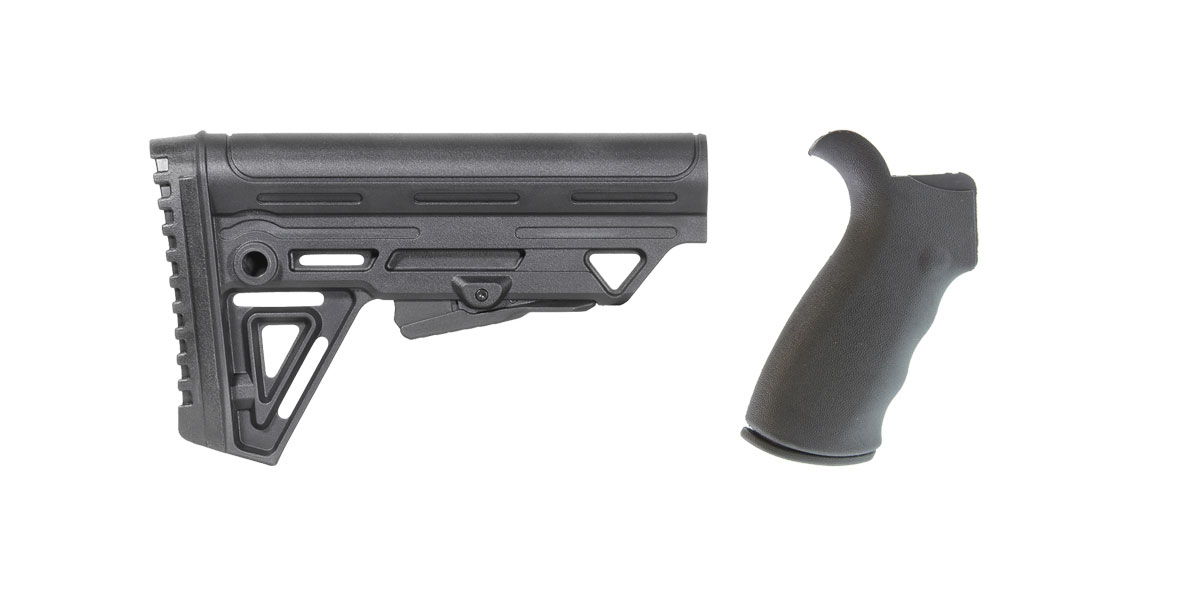 Delta Deals Omega Mfg. AR-15 Rear Beavertail grip, Rubberized Coating + Trinity Force Alpha Stock MK2 - Made in the USA