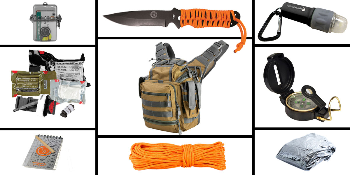 Delta Deals Preparedness Pack Featuring: VISM First Responders Utility Bag - Tan and Urban Gray, First Aid Kit, Knife, Light, Outdoor Skills Pocket Reference Guides, Waterproof Note Pad, Emergency Space Poncho, Compass, and 50' of Paracord
