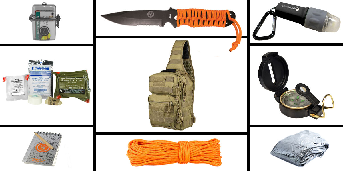 Delta Deals Preparedness Pack Featuring: VISM Shoulder Sling Utility Bag -Urban Gray , First Aid Kit, Knife, Light, Outdoor Skills Pocket Reference Guides, Waterproof Note Pad, Emergency Space Poncho, Compass, and 50' of Paracord
