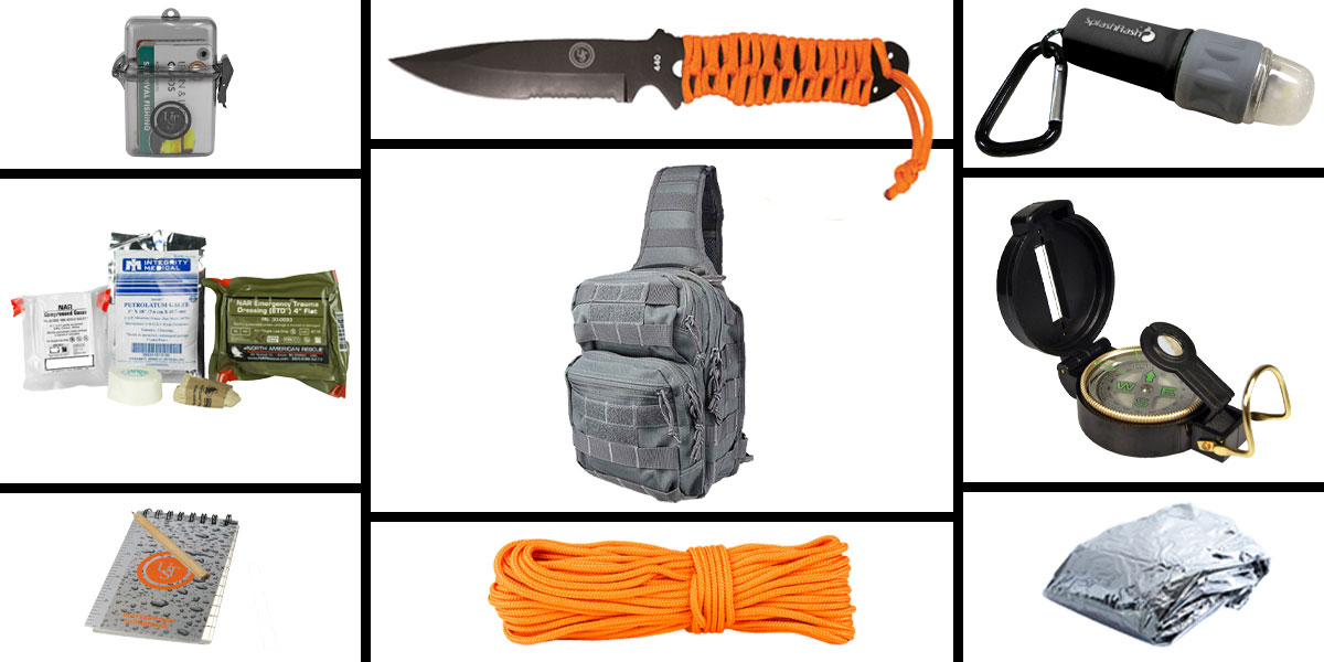 Delta Deals Preparedness Pack Featuring: VISM Shoulder Sling Utility Bag -Tan, First Aid Kit, Knife, Light, Outdoor Skills Pocket Reference Guides, Waterproof Note Pad, Emergency Space Poncho, Compass, and 50' of Paracord