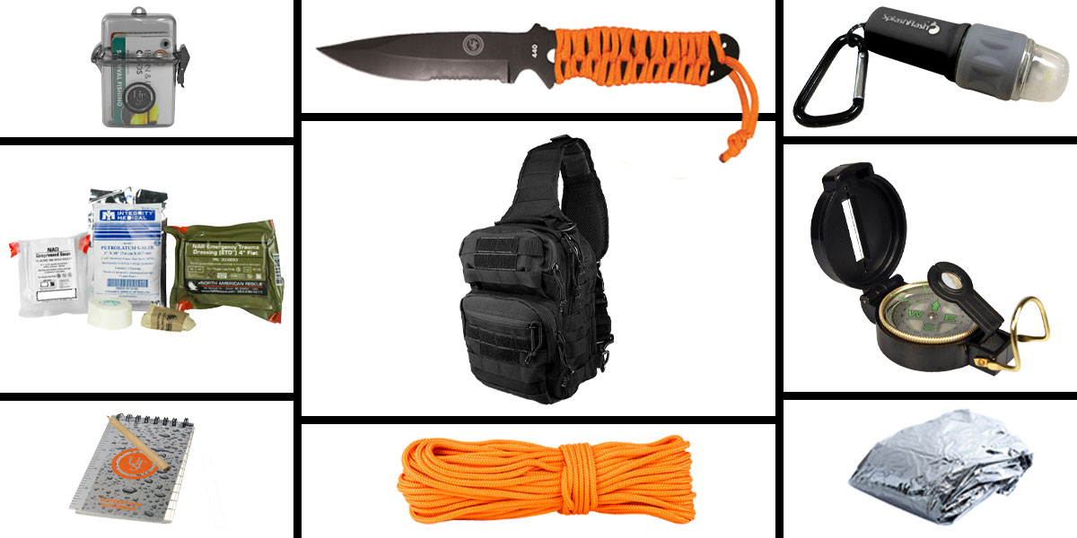 Delta Deals Preparedness Pack Featuring: VISM Shoulder Sling Utility Bag -Black , First Aid Kit, Knife, Light, Outdoor Skills Pocket Reference Guides, Waterproof Note Pad, Emergency Space Poncho, Compass, and 50' of Paracord