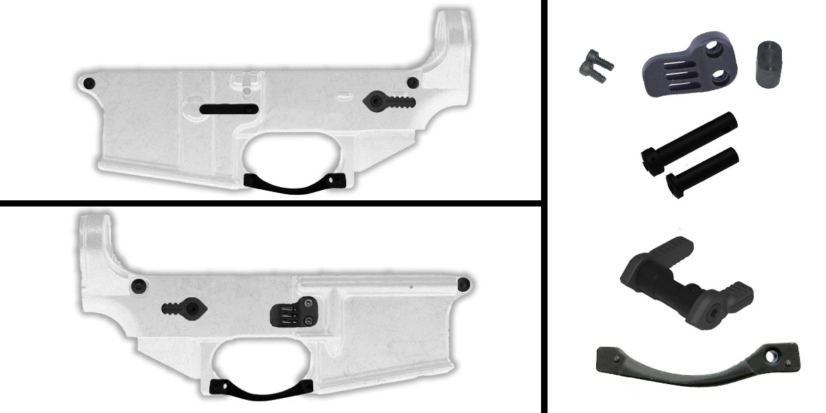 Delta Deals AR-15 Lower Enhancement Kit Featuring BCM Gunfighter AR-15 Trigger Guard - Black, Guntec Extended Mag Catch Release - Black, Armaspec FT90 Full Throw Ambi Safety Selector - Black, Armaspec Superlight Takedown/Pivot Pins - Black