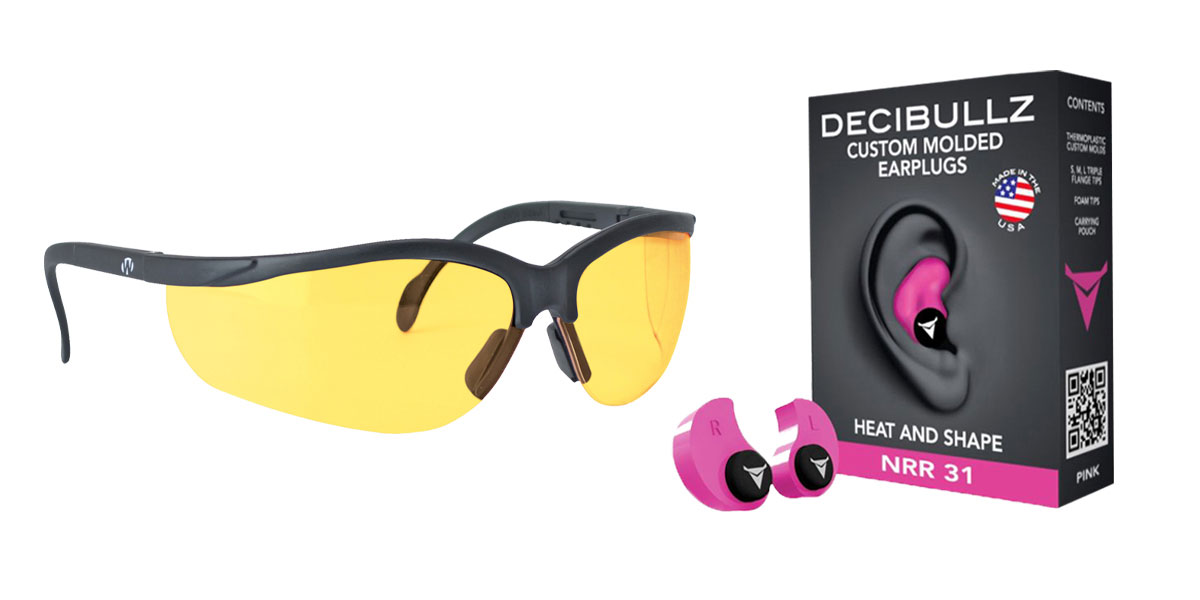 Delta Deals Shooter Safety Packs Featuring Decibullz Custom Molded Earplugs - Pink + Walker's, Glasses, Yellow, 1 Pair