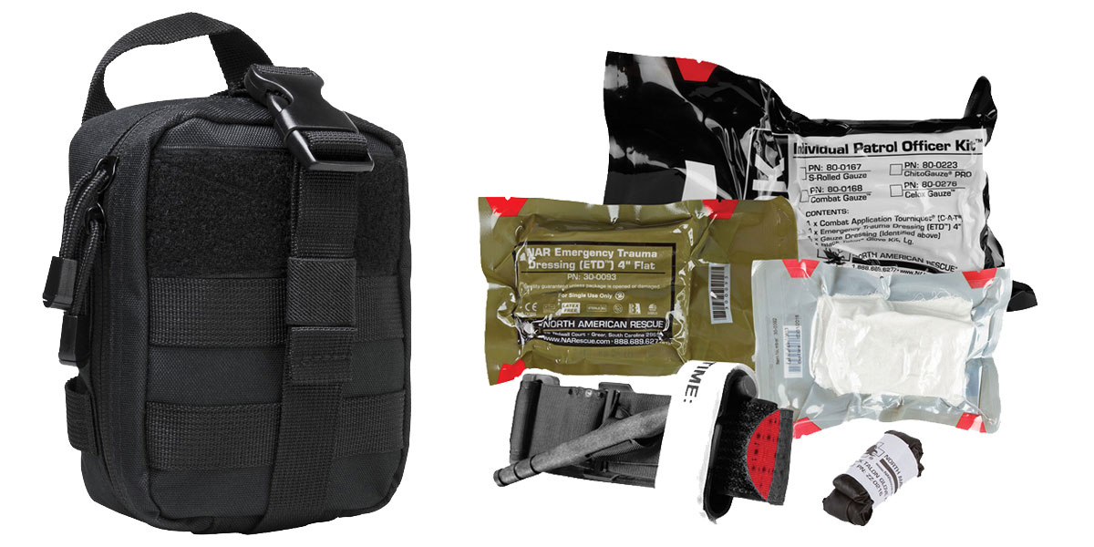 Delta Deals North American Rescue, Individual Patrol Officer Kit Medical Kit + VISM MOLLE EMT Pouch - Black