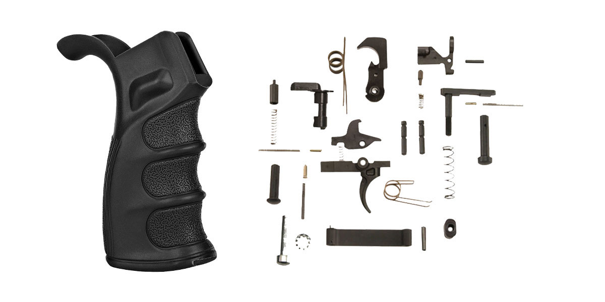 Delta Deals Omega Manufacturing AR-15 M4 Polymer Pistol Grip With Bottom Storage Compartment + KAK AR-15 Lower Parts Kit w/ No Grip