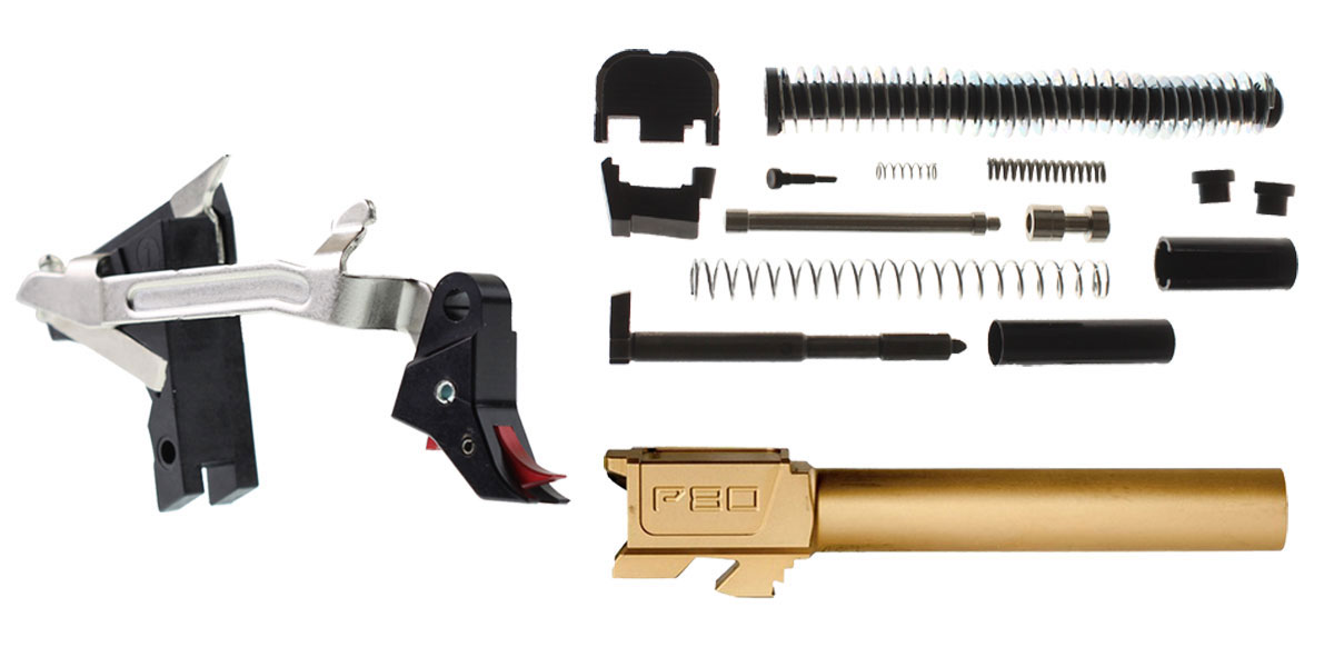 "Delta Deals Alpha One Glock 17 Compatible Slide Parts Kit + Alpha One Lighting Tap ""SPSR"" (Short Pull Short Reset) Glock Compatible Trigger +  Polymer80 G17 Compatible 9x19mm Non-Threaded Standard Titanium Nitride Barrel"