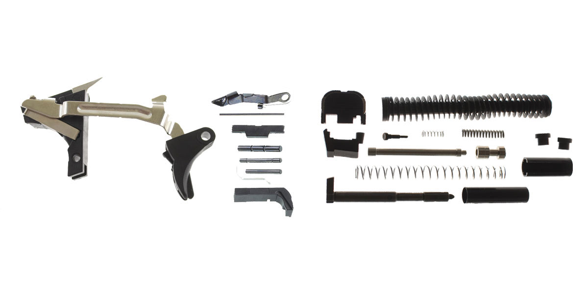 Delta Deals DIY Pistol Kit Glock 19/17 Compatible Lower Parts Kit, Extended Mag Release and Slide Release + Alpha One Glock 19 Slide Kit