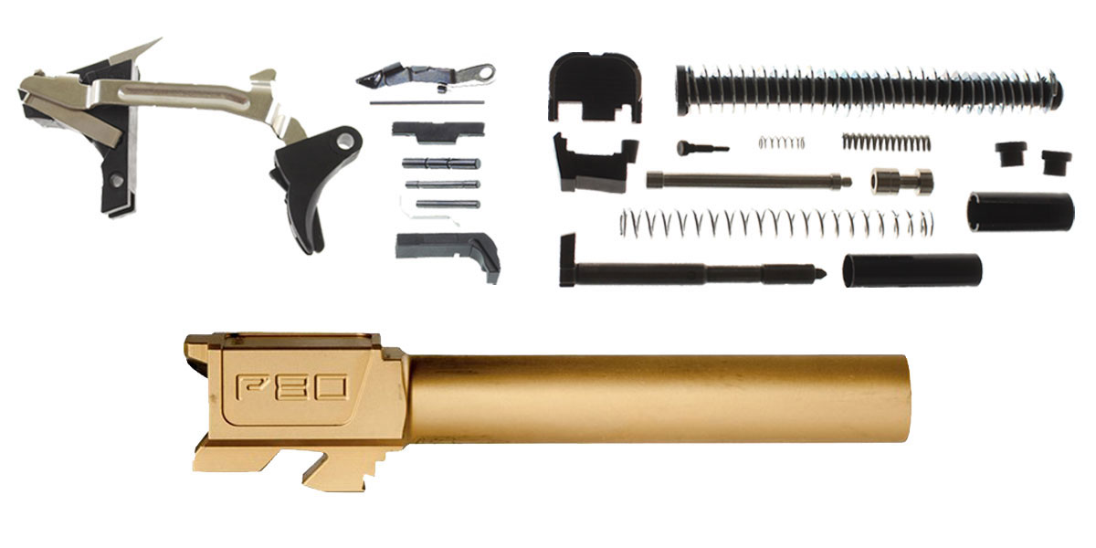 Delta Deals DIY Pistol Kit Glock 19/17 Compatible Lower Parts Kit, Extended Mag Release and Slide Release + Alpha One Glock 19 Slide Kit + Polymer80 G19 Compatible Standard Titanium Nitride Barrel, 9x19mm, Non-Threaded