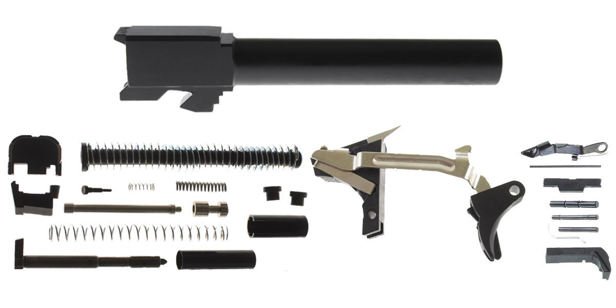 Delta Deals DIY Pistol Kit G17 Compatible, Non-Threaded, Nitride Finish Barrel + Glock 19/17 Compatible Lower Parts Kit, Extended Mag Release and Slide Release + Alpha One Glock 17 Slide Kit
