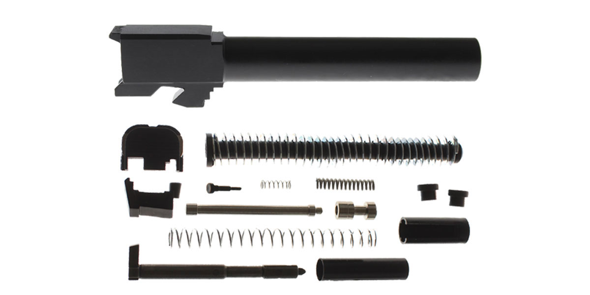 Delta Deals DIY Pistol Kit G17 Compatible, Non-Threaded, Nitride Finish Barrel + Alpha One Glock 17 Slide Kit