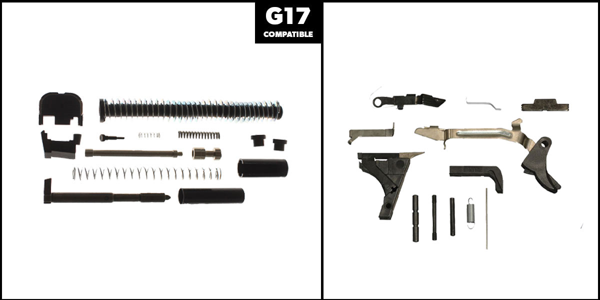 Delta Deals DIY Pistol Kit G17 Alpha One Outdoors Glock Frame Kit with Billet Trigger, Extended Mag Release, And Extended Slide Lock + Alpha One Glock 17 Slide Completion Kit