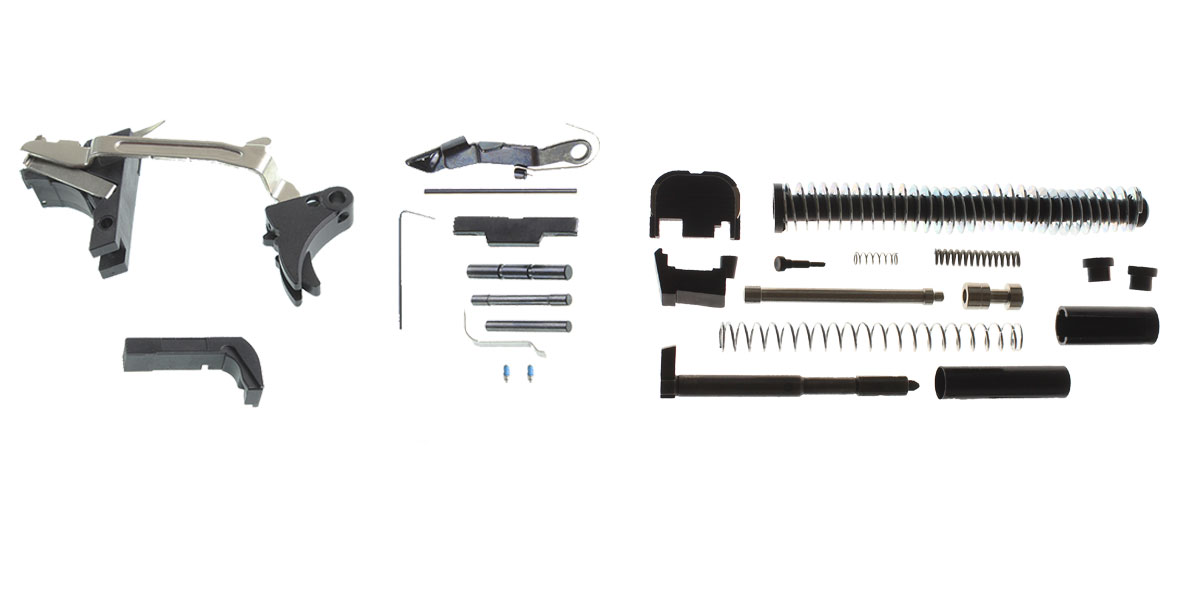 Delta Deals DIY Pistol Kit G17 Alpha One Outdoors Glock Frame Kit with Billet Trigger, Extended Mag Release, And Extended Slide Lock + Alpha One Glock 17 Slide Kit