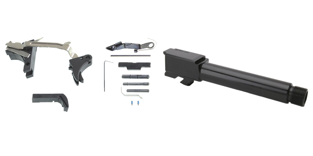 Delta Deals DIY Pistol Kit G19 Alpha One Outdoors Glock Frame Kit with Billet Trigger, Extended Mag Release, And Extended Slide Lock + 4.25