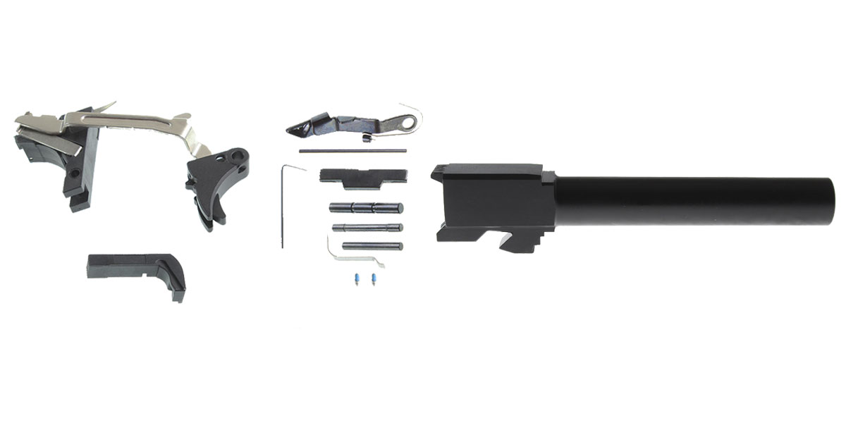 Delta Deals DIY Pistol Kit G17 Alpha One Outdoors Glock Frame Kit with Billet Trigger, Extended Mag Release, And Extended Slide Lock + Glock 17 Compatible Barrel, Non-Threaded Muzzle, 9x19mm, Stainless Steel, Nitride Finish