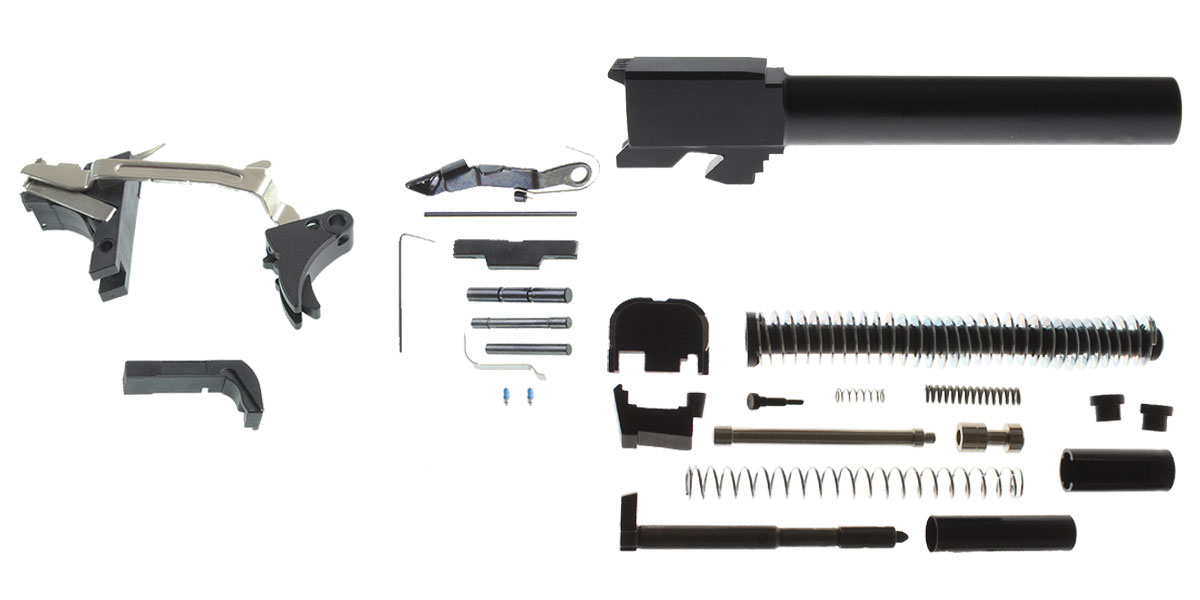 Delta Deals DIY Pistol Kit G17 Alpha One Outdoors Glock Frame Kit with Billet Trigger, Extended Mag Release, And Extended Slide Lock + Glock 17 Compatible Barrel, Non-Threaded Muzzle, 9x19mm, Stainless Steel, Nitride Finish + Alpha One Glock 17 Slide Kit