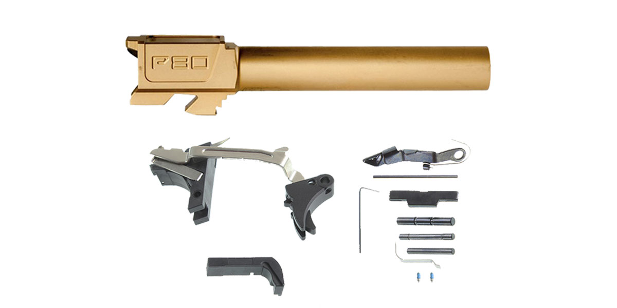 Delta Deals DIY Pistol Kit G17 Alpha One Outdoors Glock Frame Kit with Billet Trigger, Extended Mag Release, And Extended Slide Lock + Polymer80 G17 Compatible Standard Titanium Nitride Barrel, 9x19mm, Non-Threaded