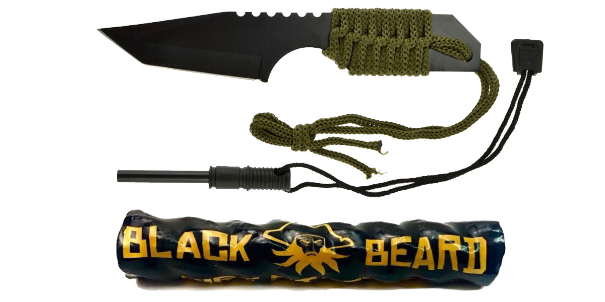 Delta Deals Black Beard Fire Starter + GS Knife Co. Mini Hunting Knife with Fire Starter Full Length 7