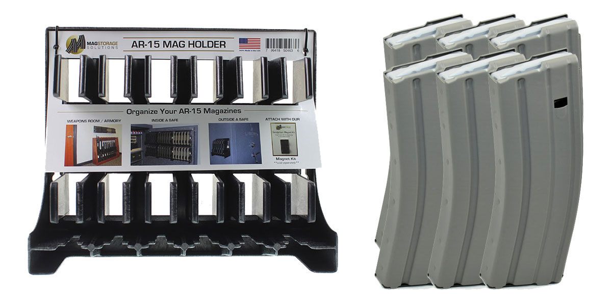 Delta Deals AR-15 MagStorage Solutions AR-15 Magazine Holder + 6 - ASC 5.56/.223 Grey Teflon Magazines