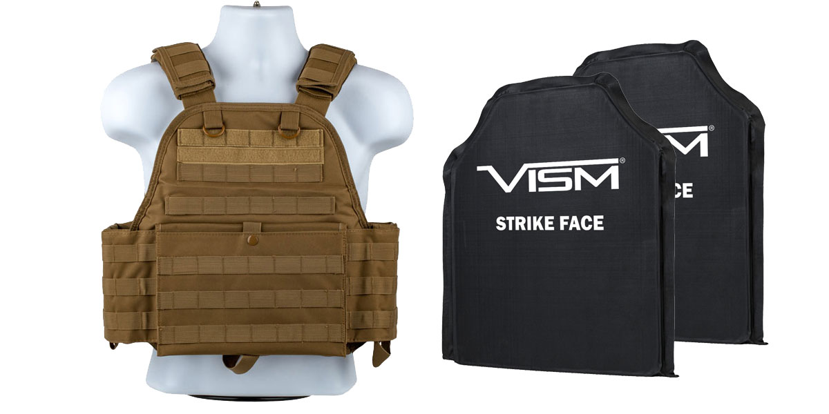 Delta Deals VISM Plate Carrier Vest, Size: Medium-2XL, TAN + VISM Soft Panel x2