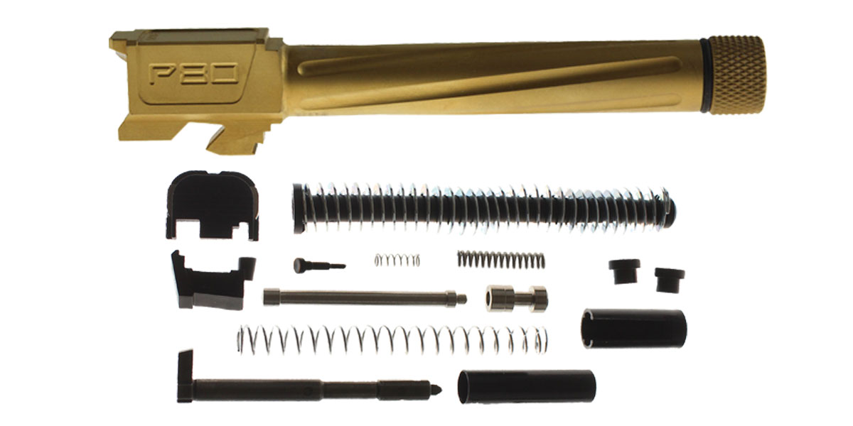 Delta Deals Polymer80 G17 Compatible Fluted Titanium Nitride Barrel, 9x19mm, Threaded + Alpha One Glock 17 Slide Kit