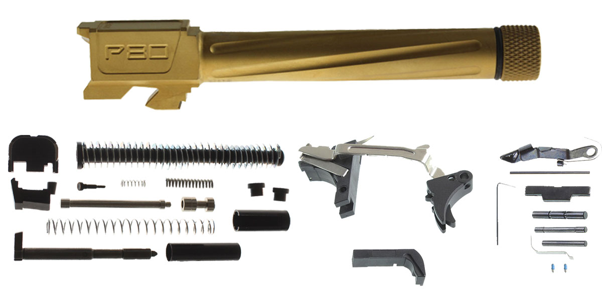 Delta Deals Polymer80 G17 Compatible Fluted Titanium Nitride Barrel, 9x19mm, Threaded + Alpha One Glock 17 Slide Kit + Glock Frame Kit with Billet Trigger, Extended Mag Release, And Extended Slide Lock