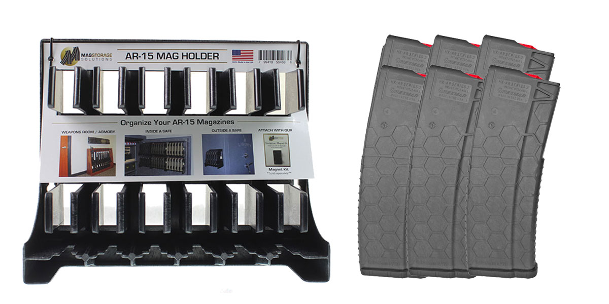 Delta Deals MagStorage Solutions AR-15 Magazine Holder + HEXMAG, .223 Remington/5.56 NATO, 30Rd Magazine - 6 Pack