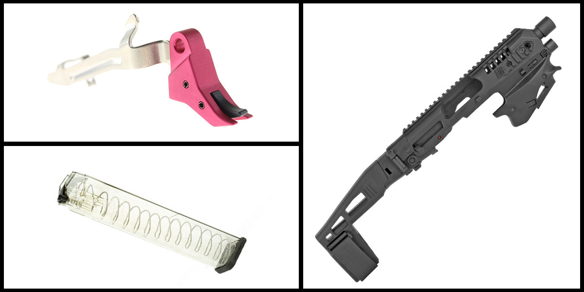 Delta Deals CAA Micro, Handgun Conversion Kit, Fits Glock 17/19/19X/22/23/31/32/45 + ETS MAG For Glock 9mm 31Rd + Alpha One Pink/Black Billet Trigger with Bar, Glock Compatible