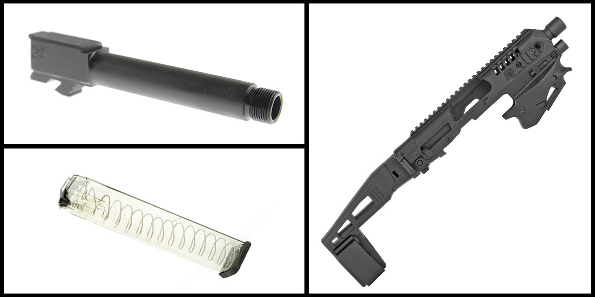 Delta Deals CAA Micro, Handgun Conversion Kit, Fits Glock 17/19/19X/22/23/31/32/45 + ETS MAG For Glock 9mm 31Rd + Cold Hammer Forged 9mm Pistol Barrel, Fits Glock 19 - Threaded Muzzle