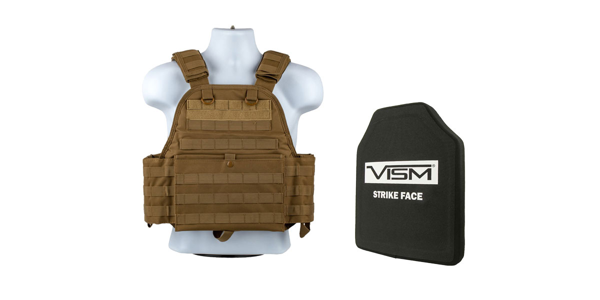 Delta Deals VISM NIJ Level 3 Ballistic Hard Panel + VISM Plate Carrier Tan