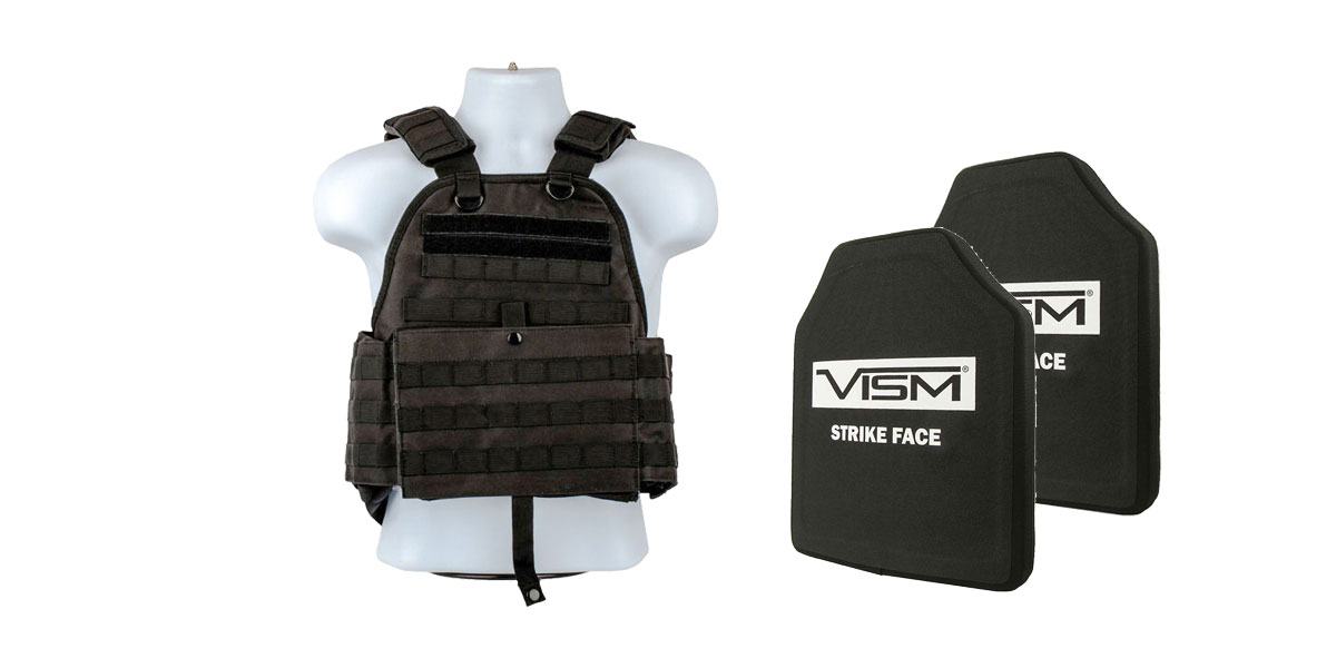Delta Deals VISM NIJ Level 3 Ballistic Hard Panel x2  + VISM Plate Carrier Black