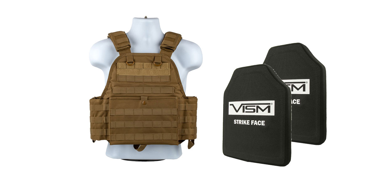 Delta Deals VISM NIJ Level 3 Ballistic Hard Panel x2 + VISM Plate Carrier Tan
