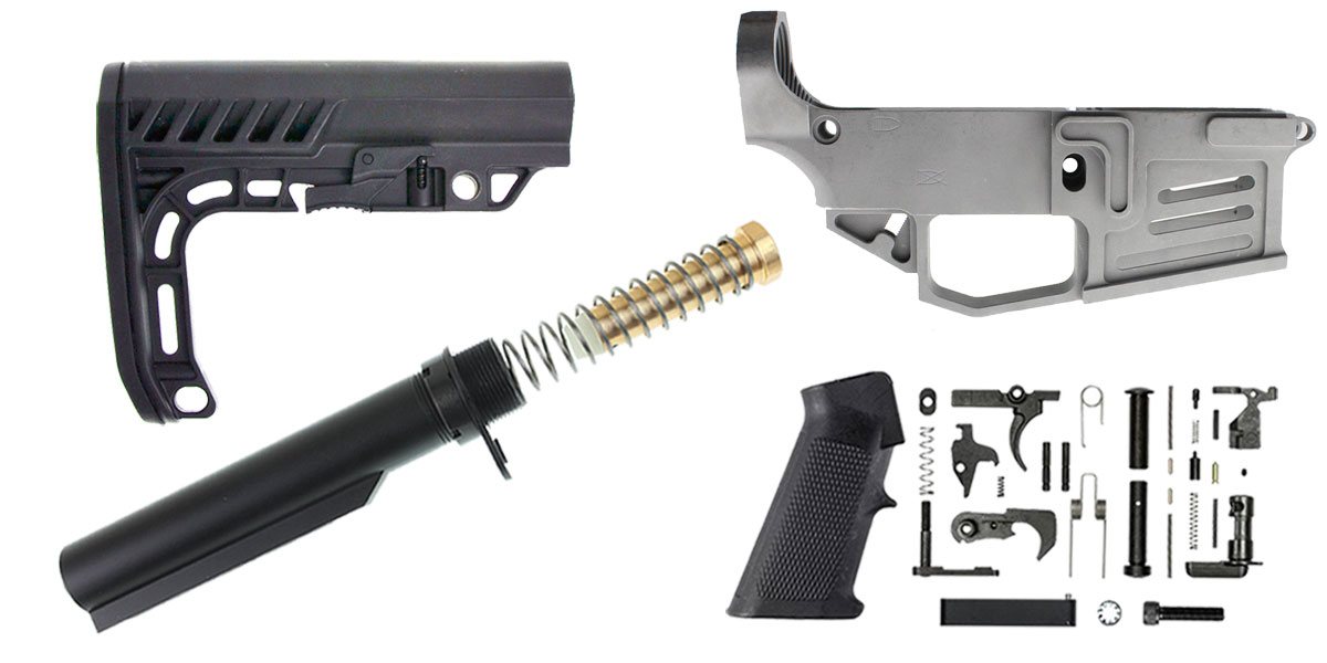 Delta Deals Mercury Precision 80% Lower + KAK Mil-Spec LPK + Lakota Ops Minimalist Stock + Omega Manufacturing Mil-Spec Buffer Tube Kit