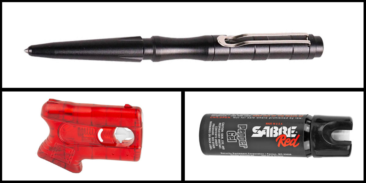 Delta Deals Less Lethal Combo Kimber Pepperblaster II + Sabre Self Defense Pepper Gel + Tactical Pen, Black