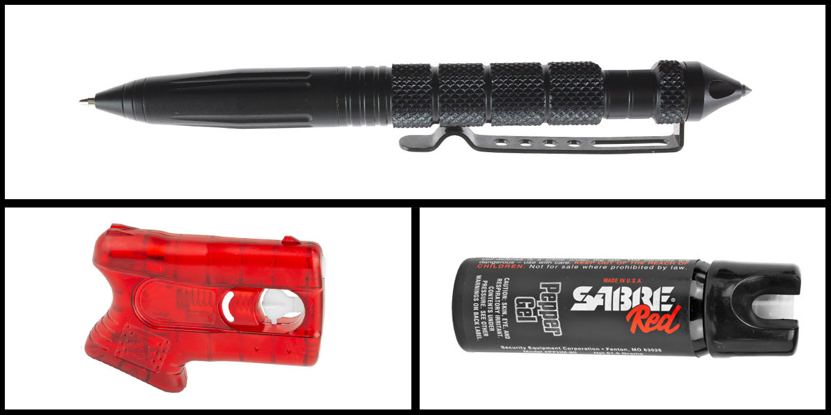 Delta Deals Less Lethal Combo Kimber Pepperblaster II + Sabre Self Defense Pepper Gel + Heavy Duty Tactical Pen