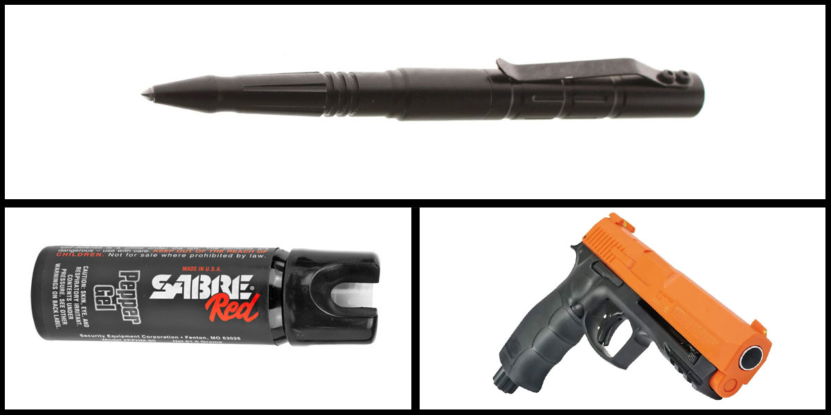 Delta Deals Less Lethal Combo Sabre Self Defense Pepper Gel + Pepper Ball Air Pistol + Tactical Glass Breaker w/ Pen