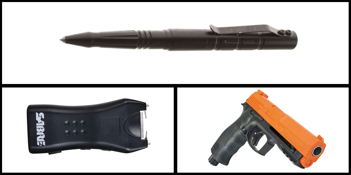 Delta Deals Less Lethal Combo Sabre Mini Stun Gun + Pepper Ball Air Pistol + Tactical Glass Breaker w/ Pen