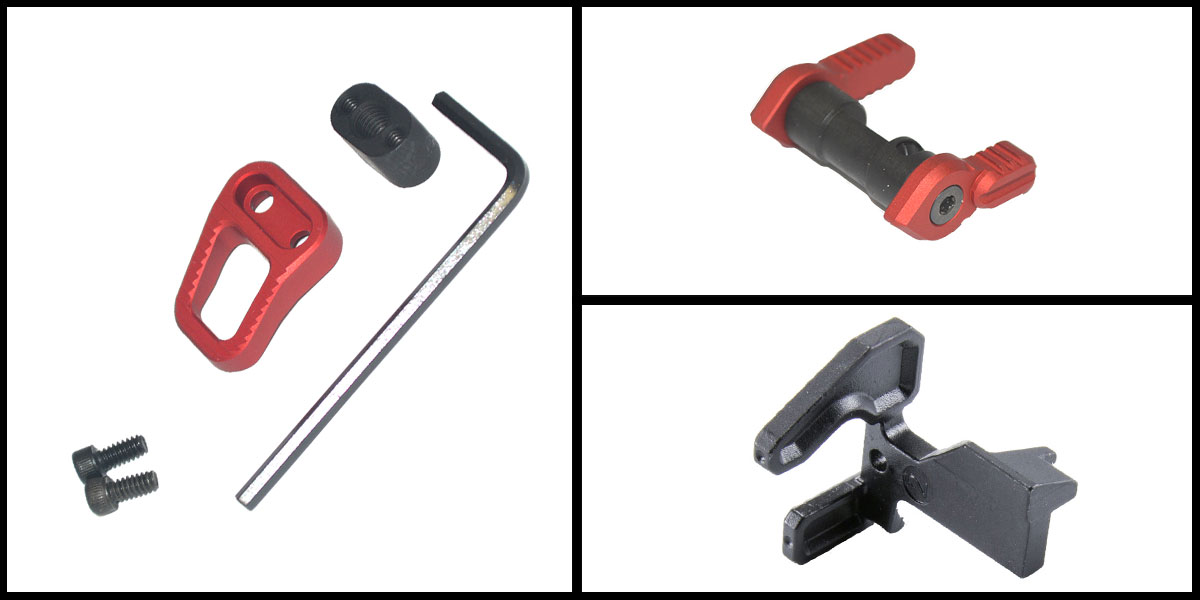 Delta Deals Geissele Maritime Bolt Catch + Armaspec Extended Mag Release - Red + Armaspec Full Throw Ambi Safetey Selector - Red